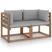 vidaXL 2-vietīgs dārza palešu dīvāns, pelēki matrači, priedes koks