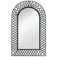 vidaXL sienas spogulis, arkveida, 50x80 cm, melns