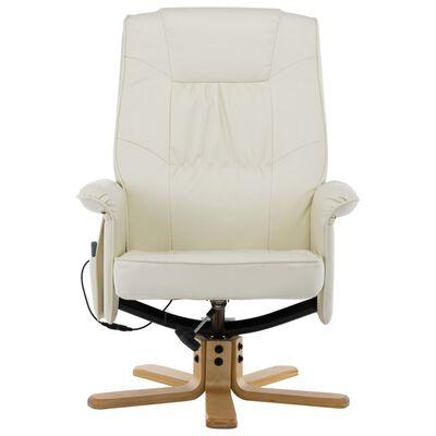 vidaXL masāžas krēsls ar kāju soliņu, atgāžams, bēša mākslīgā āda