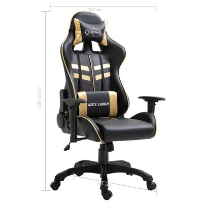 vidaXL datorspēļu krēsls, zelta krāsas mākslīgā āda