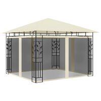vidaXL dārza nojume ar moskītu tīklu, 3x3x2,73 m, 180 g/m², krēmkrāsas