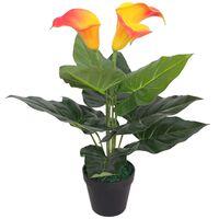 vidaXL mākslīgā kalla lilija ar podiņu, 45 cm, sarkana ar dzeltenu