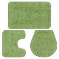 vidaXL vannasistabas paklāji, 3 gab., zaļš audums