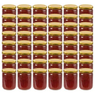 vidaXL ievārījuma burciņas, zelta krāsas vāciņi, 48 gab., 230 ml