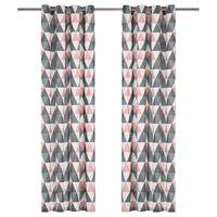 vidaXL aizkari ar metāla riņķiem, 2 gab., 140x245 cm, pelēki ar rozā