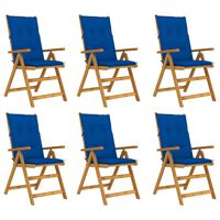 vidaXL saliekami dārza krēsli ar matračiem, 6 gab., akācijas masīvkoks