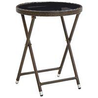 vidaXL kafijas galdiņš, brūns, 60 cm, PE rotangpalma un rūdīts stikls