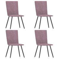 vidaXL virtuves krēsli, 4 gab., rozā samts