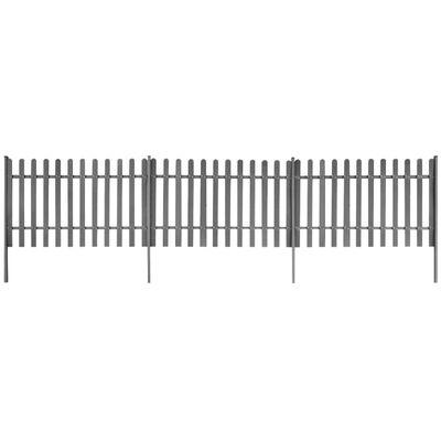 vidaXL dārza žogs ar stabiem, 3 gab., WPC, 600x120 cm