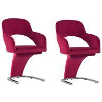vidaXL virtuves krēsli, 2 gab., vīnsarkans samts