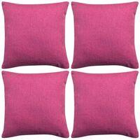 vidaXL spilvenu pārvalki, 4 gab., 40x40 cm, linam līdzīgs rozā audums
