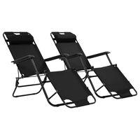 vidaXL sauļošanās krēsli, 2 gab., ar kāju balstu, tērauds, melni