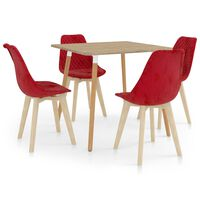 vidaXL 5-daļīgs virtuves mēbeļu komplekts, sarkans