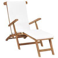 vidaXL pludmales krēsls ar matraci, masīvs tīkkoks, krēmkrāsā