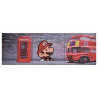vidaXL audekla sienas gleznu komplekts, Londona, krāsaina, 120x40 cm