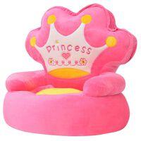 vidaXL bērnu atpūtas krēsls, rozā plīšs