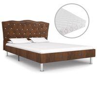 vidaXL gulta ar matraci, brūns audums, 140x200 cm