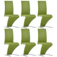 vidaXL virtuves krēsli, 6 gab., zigzaga forma, zaļa mākslīgā āda