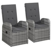 vidaXL atgāžami dārza krēsli, 2 gab., matrači, PE rotangpalma, pelēki