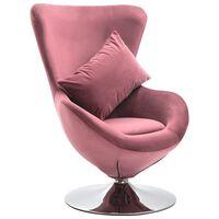 vidaXL grozāms atpūtas krēsls ar spilvenu, rozā samts