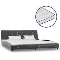 vidaXL gulta ar atmiņas matraci, pelēka, 180x200 cm, mākslīgā āda