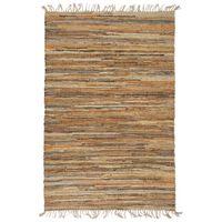 vidaXL Chindi paklājs, 190x280 cm, pīts ar rokām, āda un džuta