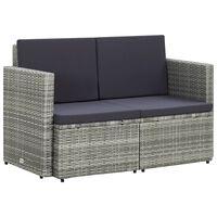 vidaXL divvietīgs dārza dīvāns ar matračiem, pelēka PE rotangpalma