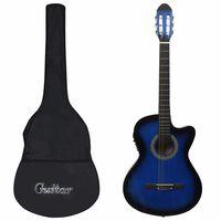 vidaXL 12-daļīgs ģitāras komplekts ar 6 stīgām un ekvalaizeru, zila