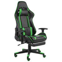 vidaXL datorspēļu krēsls ar kāju balstu, grozāms, zaļš, PVC