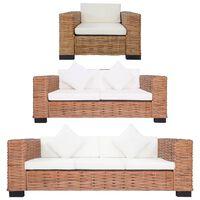 vidaXL trīsdaļīgs dīvānu komplekts ar matračiem, dabīga rotangpalma