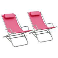vidaXL atpūtas krēsli, 2 gab., rozā, tērauds