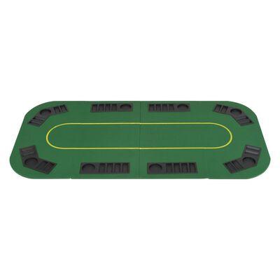 vidaXL pokera galda virsma, salokāma, 8 spēlētājiem, taisnstūra, zaļa
