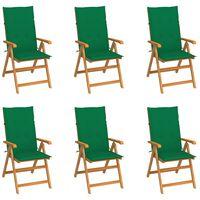 vidaXL dārza krēsli, 6 gab., zaļi matrači, masīvs tīkkoks