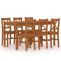 vidaXL 7-daļīgs virtuves mēbeļu komplekts, medus brūns, priedes koks