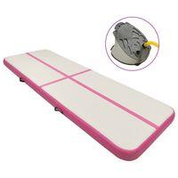 vidaXL piepūšams vingrošanas paklājs ar pumpi, 500x100x15 cm, rozā PVC