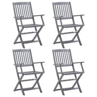 vidaXL saliekami dārza krēsli, 4 gab., akācijas masīvkoks