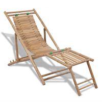vidaXL pludmales krēsls ar kāju balstu, bambuss