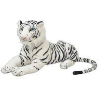 vidaXL rotaļu tīģeris, XXL, balts plīšs