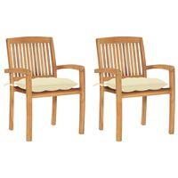 vidaXL dārza krēsli, 2 gab., krēmbalti matrači, masīvs tīkkoks