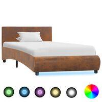 vidaXL gultas rāmis ar LED, brūns audums, 90x200 cm