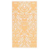 vidaXL āra paklājs, 190x290 cm, oranžs un balts PP