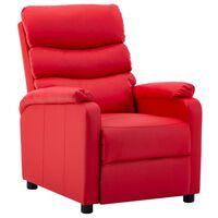 vidaXL atpūtas krēsls, atgāžams, sarkana mākslīgā āda