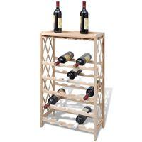 vidaXL vīna pudeļu plaukts, 25 pudelēm, egles masīvkoks