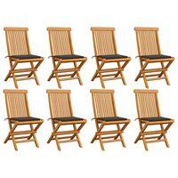 vidaXL dārza krēsli, 8 gab., pelēkbrūni matrači, masīvs tīkkoks