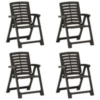 vidaXL dārza krēsli, 4 gab., antracītpelēka plastmasa
