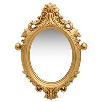 vidaXL sienas spogulis, pils interjera stils, 56x76 cm, zelta krāsa