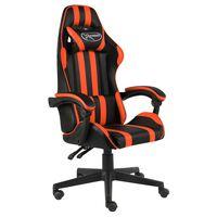 vidaXL biroja krēsls, melna un oranža mākslīgā āda