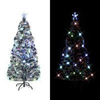 vidaXL Ziemassvētku egle ar statīvu, LED, 150 cm, optiskā šķiedra