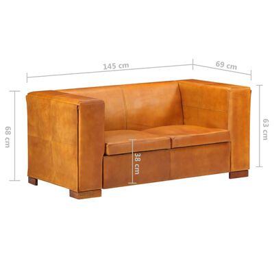 vidaXL divvietīgs dīvāns, dzeltenbrūna dabīgā āda