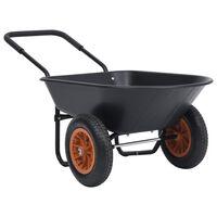 vidaXL ķerra, melna un oranža, 78 L, 100 kg